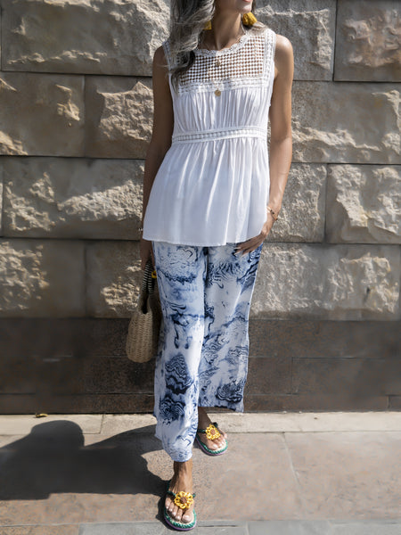 Gray-Blue Slit Abstract Casual Shift Pants