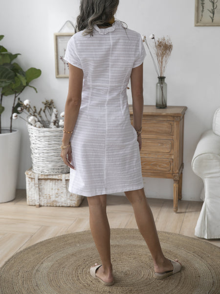 Off White Shift Short Sleeve Elegant Cotton Dresses