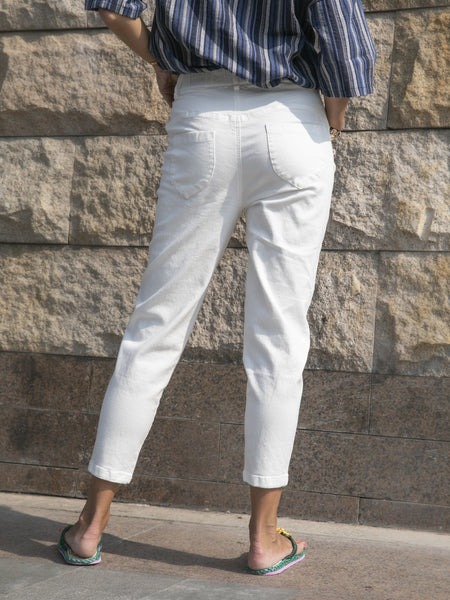 White Solid Casual Cotton Sheath Pants