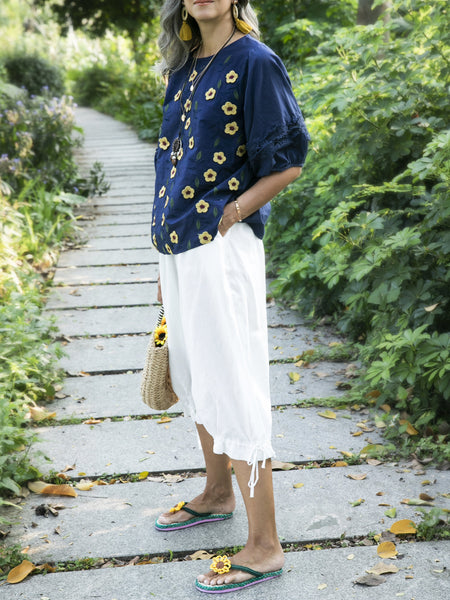 Deep Blue Casual Floral Crew Neck Shirts & Tops