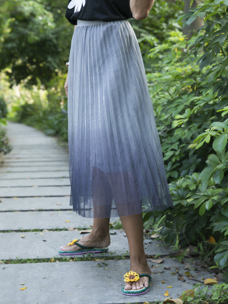 Gray Gradient Chiffon Casual Ombre/tie-Dye Skirts