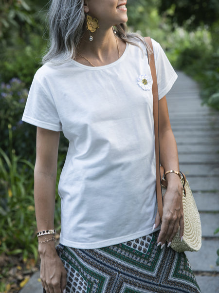 White Crew Neck Knitted Simple Shirts & Tops
