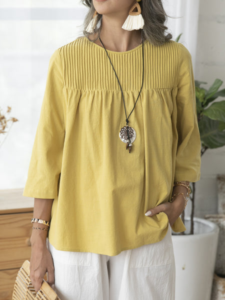 Yellow 3/4 Sleeve Casual Shirts & Tops