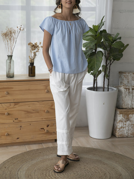 Light Blue Shift Crew Neck Cotton Short Sleeve Shirts & Tops