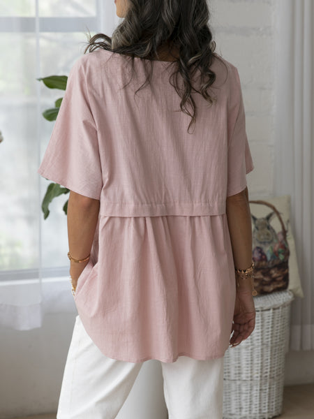 Pink Cotton Short Sleeve Paneled Solid Shirts & Tops