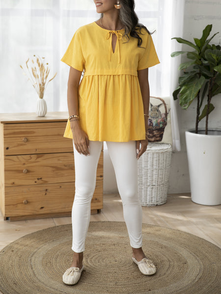 Yellow Cotton A-Line Solid Casual Shirts & Tops