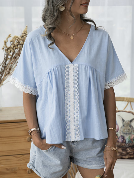 Sky Blue Cotton Plain Paneled Short Sleeve Shirts & Tops