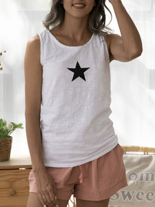 White Simple & Basic Star Sleeveless Printed Shirts & Tops