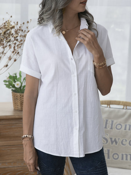 White Short Sleeve Solid Pockets Shirts & Tops