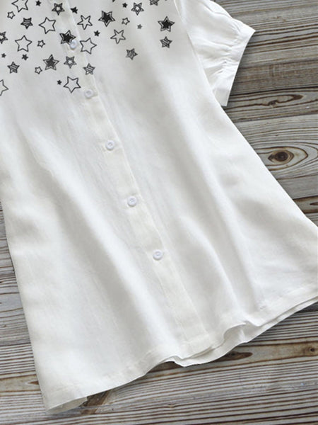 White Cotton-Blend Simple Shirts & Tops