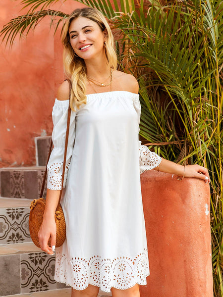 White Graphic Casual Dresses
