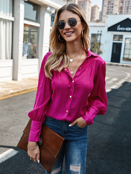 Rose Red Balloon Sleeve Shift Buttoned Casual Shirts & Tops