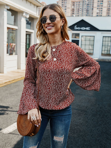 Red Floral Casual Shirts & Tops
