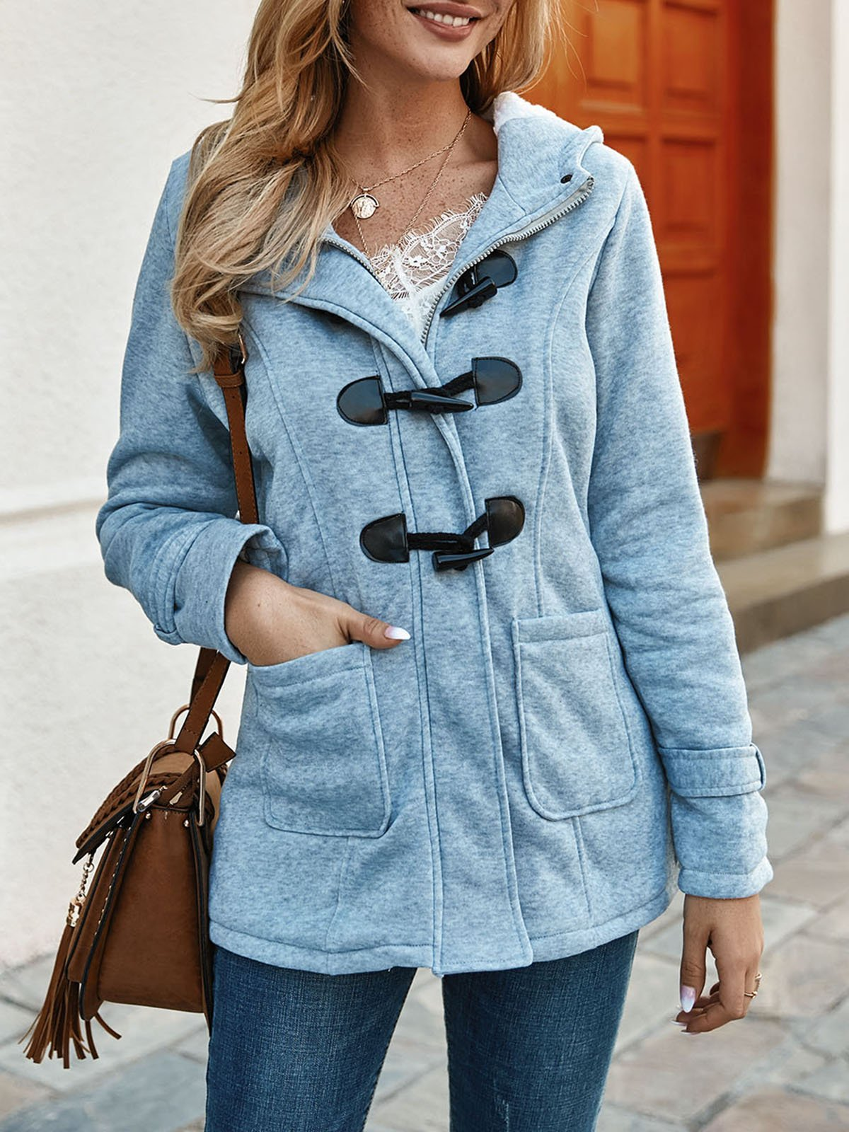 Light Grey Buttoned Casual Outerwear