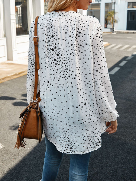 White Star Long Sleeve Buttoned V Neck Shirts & Tops