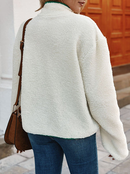 White Casual Shift Solid Long Sleeve Outerwear
