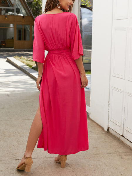 Fuchsia Plain Maxi Dress