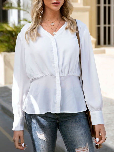White Solid V Neck Balloon Sleeve Shift Shirts & Tops