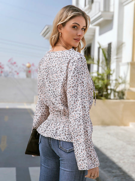 Apricot Long Sleeve Printed Leopard Print Shirts & Tops