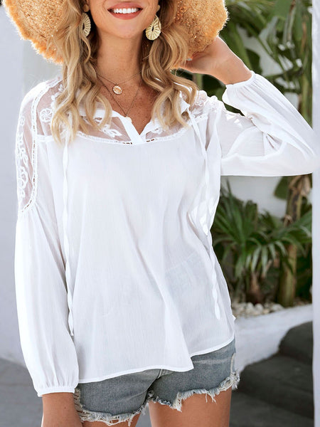 White Floral Long Sleeve Shift Tie-Neck Shirts & Tops
