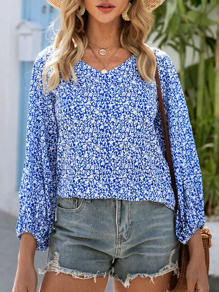 Blue Casual Shift V Neck Shirts & Tops