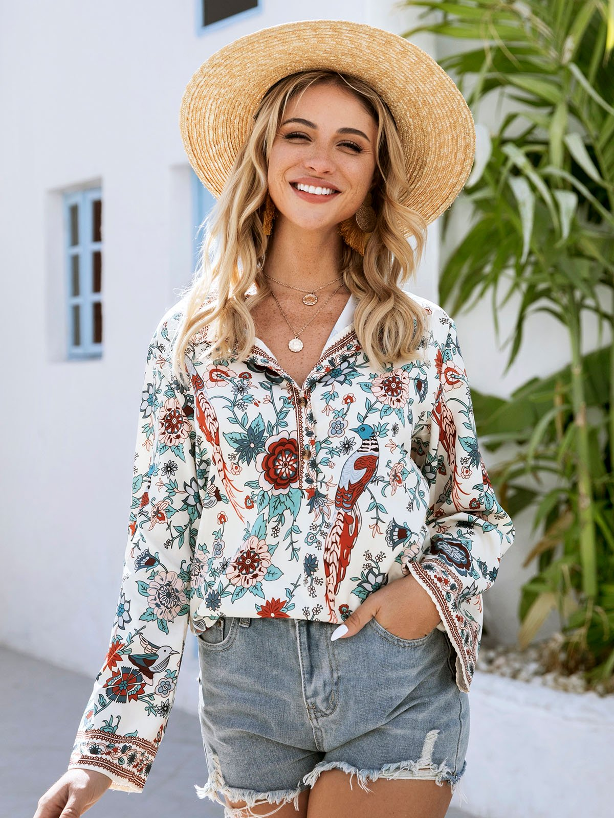 Apricot Bell Sleeve Paneled Shift Floral Shirts & Tops
