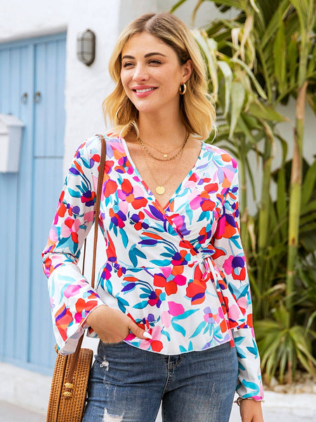 White Floral Bell Sleeve Shirts & Tops