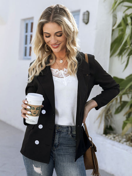 Black Buttoned Lapel Solid Long Sleeve Outerwear