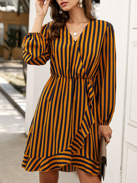 Yellow V Neck Shift Casual Dresses