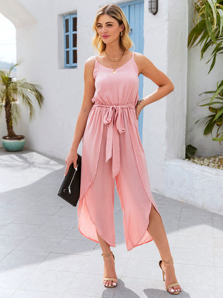 Pink Cotton Bow Spaghetti-Strap One-Pieces