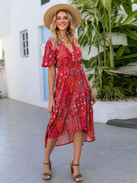 Red V Neck Shift Holiday Floral Dresses