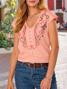 Pink Embroidery Ethnic Cotton Shift Shirts & Tops