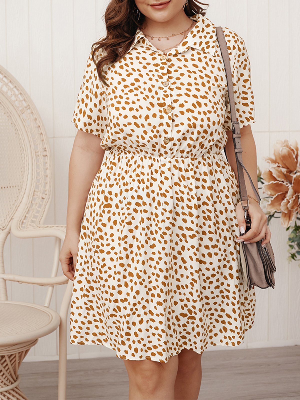 Plus Size Shirt Collar White Daily Cotton Printed Midi Dress