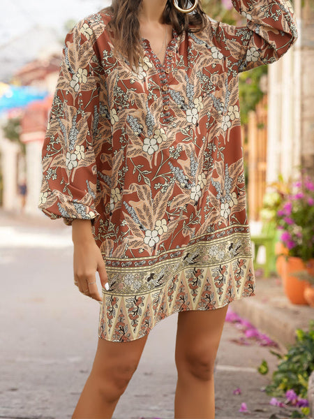 Khaki  Shift Holiday Boho Dress