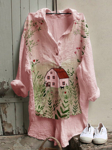 Pink Cotton-Blend Floral Shirt Collar Sweet Shirts & Tops
