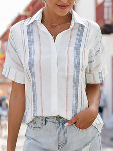 Shirt Collar Short Sleeve Casual Stripes Blouse