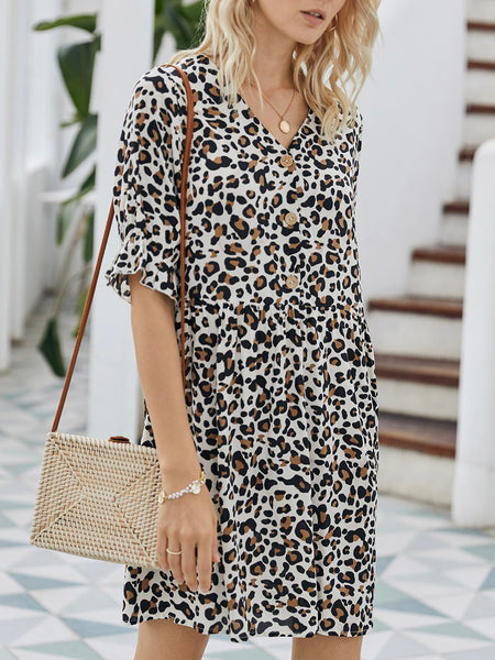 V Neck  Holiday Leopard Mini Dress