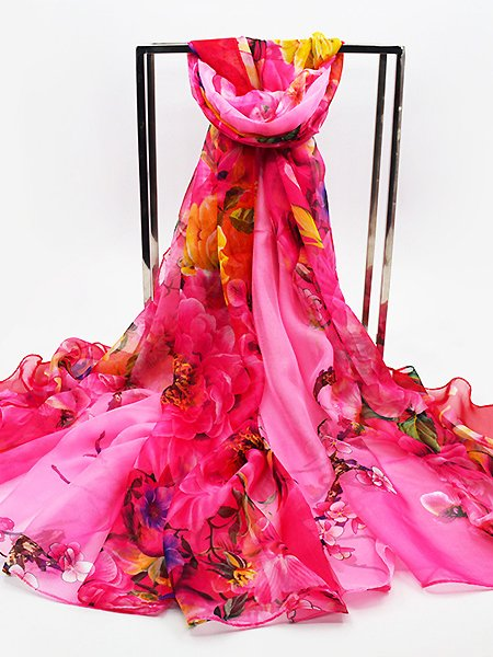 Summer Lightweight Silk-Blend Printed/dyed Beach Holiday Scarf