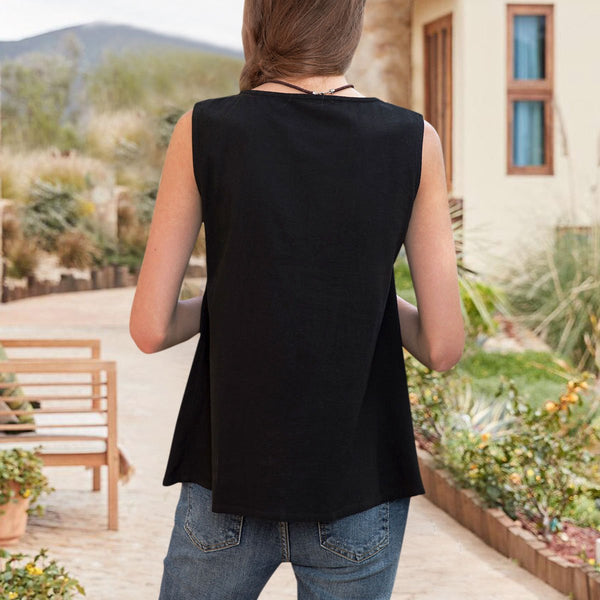 Women Ethnic V Neck Sleeveless Tank Tops