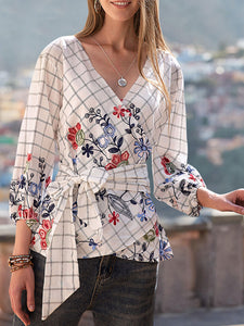 Women Linen Raglan Sleeve Vintage Gathered V Neck Floral Shirts & Tops With Belt