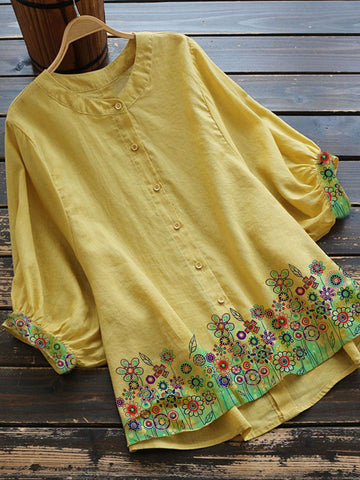 Yellow Floral Casual Cotton-Blend Shirts & Tops