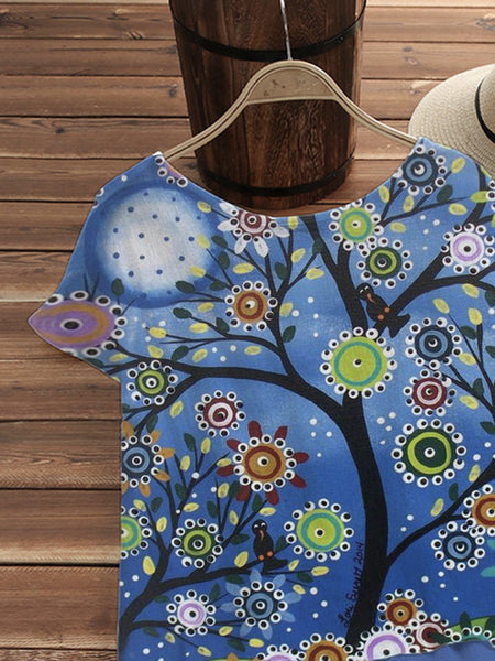 Blue Short Sleeve Cotton-Blend Plants Shirts & Tops