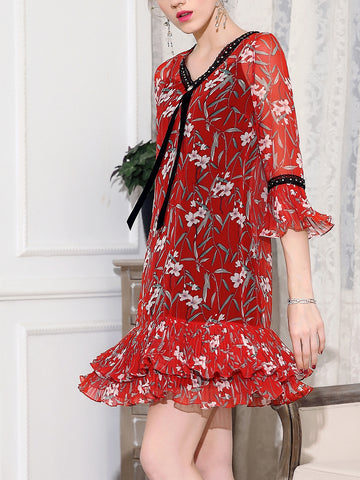 V neck Midi Dress Daytime Chiffon Floral Dress