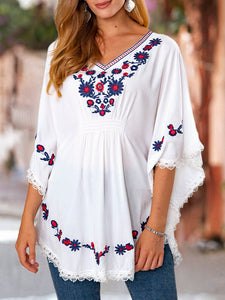 Floral Ethnic Batwing Shirts & Tops