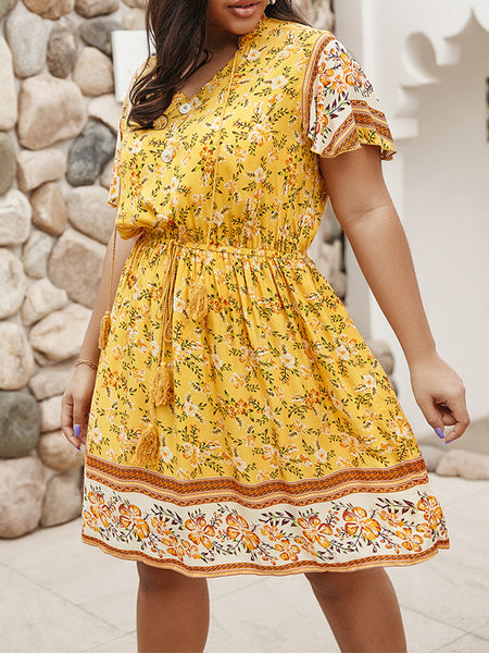 Plus Size V Neck Yello Beach Printed Floral Midi Dress