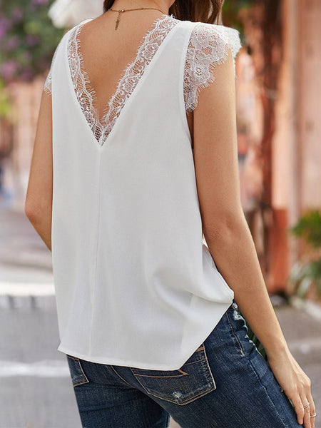 Short Sleeve Solid Lace Top