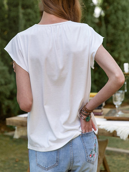 Women Lace Frill Sleeve Back Gathered Tee