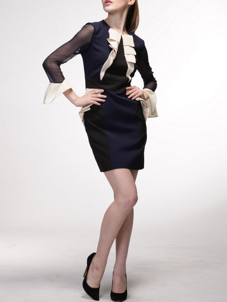 Dark Blue Chiffon Paneled Long Sleeve Mini Dress