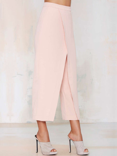 Pink Casual Solid Straight Leg Pants