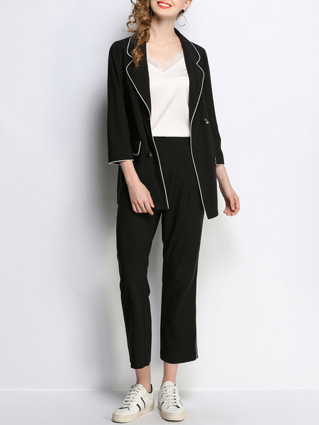Black Buttoned Casual Lapel Coat With Pants